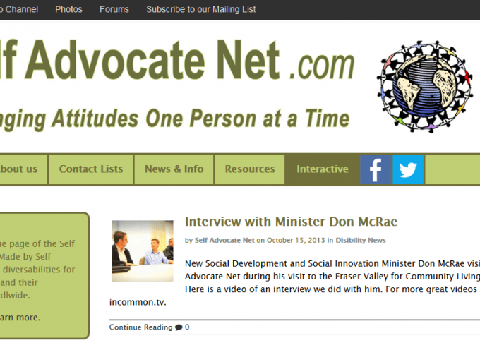 Self Advocate Net website 2014