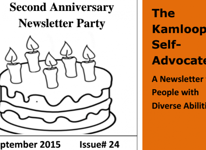 The Kamloops Self Advocate Newsletter Sept 2015 Edition