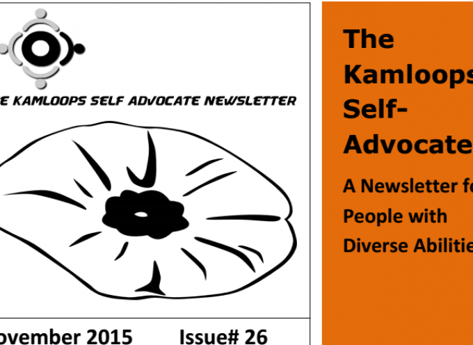 The Kamloops Self Advocate Newsletter November,2015 Edition