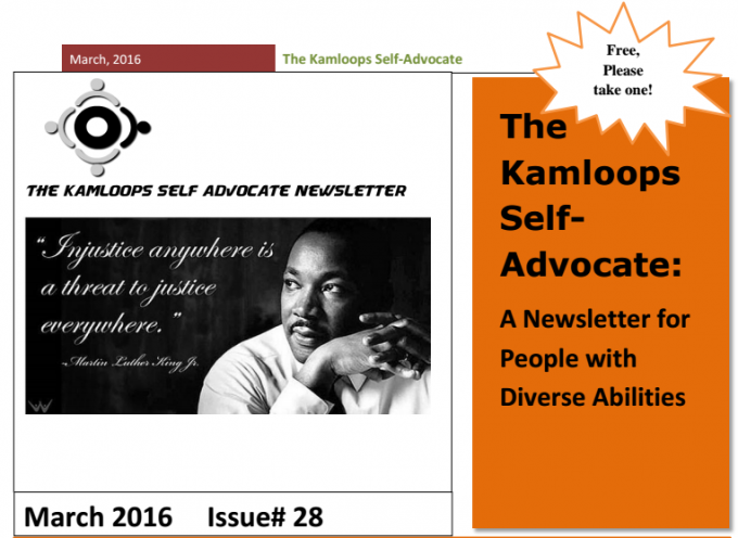 The Kamloops Self Advocates Newsletter March 2016 Edition