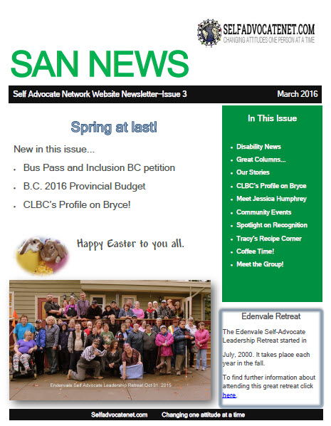 Front Cover of March Newsletter