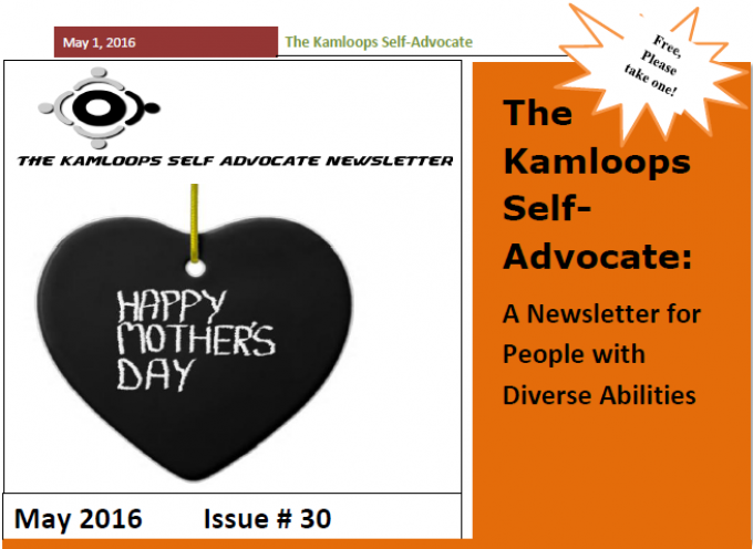 The Kamloops Self Advocates Newsletter May 2016 Edition