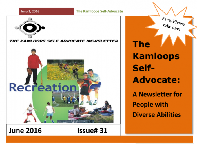 The Kamloops Self Advocates Newsletter June 2016 Edition