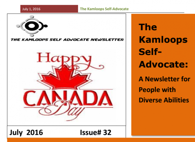 The Kamloops Self Advocates Newsletter July 2016 Edition