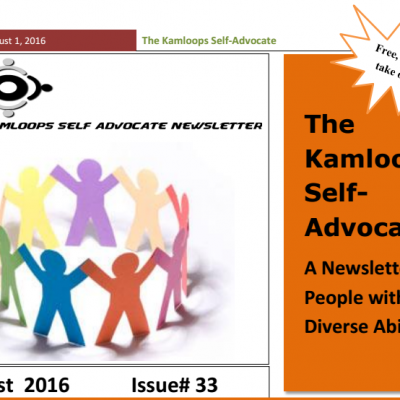 The Kamloops Self Advocates Newsletter August  2016 Edition