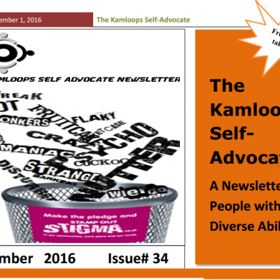 The Kamloops Self Advocates Newsletter September 2016 Edition