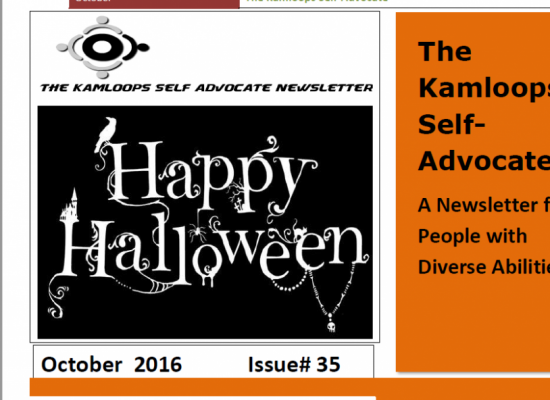 The Kamloops Self Advocates Newsletter October 2016 Edition