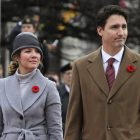 OTTAWA, Nov. 11, 2015 -- Canada's Prime Minister Justin Trudeau and wife Sophie arrive at the annual Remembrance Day ceremony at the National War Memorial in Ottawa, Canada, on Nov. 11, 2015. Every year on Nov. 11, Canadians reflect honour their war veterans and fallen soldiers by wearing a poppy and observing a moment of silence on the 11th minute of the 11th hour.  (Xinhua/David Kawai via Getty Images)