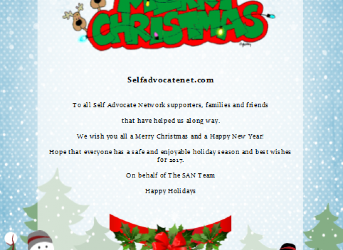 A Holiday Message 2016 from Selfadvocatenet.com