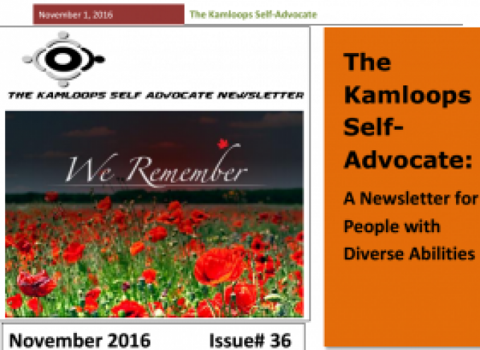 The Kamloops Self Advocates Newsletter November 2016 Edition