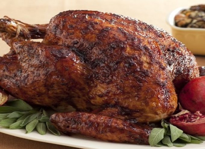 (Gluten Free) Black pepper-pomegranate treacle glazed turkey