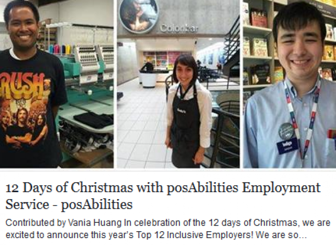 12 Days of Christmas with posAbilities Employment Service