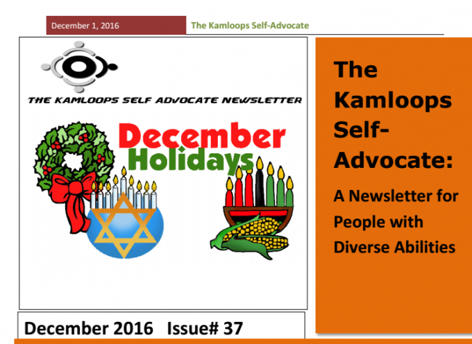 The Kamloops Self Advocates Newsletter December 2016 Edition