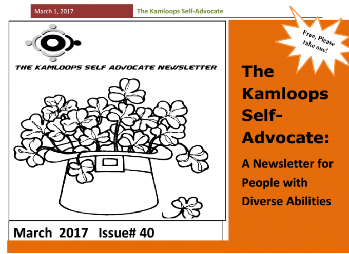 The Kamloops Self Advocates Newsletter March 2017 Edition