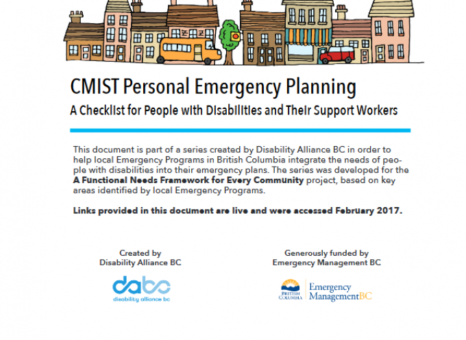 A Functional Needs Framework for Every Community: CMIST Personal Emergency Planning