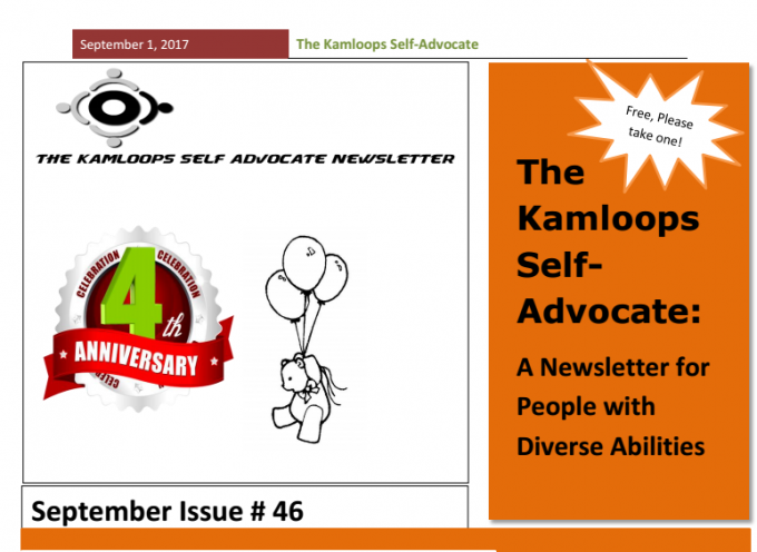 The Kamloops Self Advocates Newsletter September, 2017 Edition