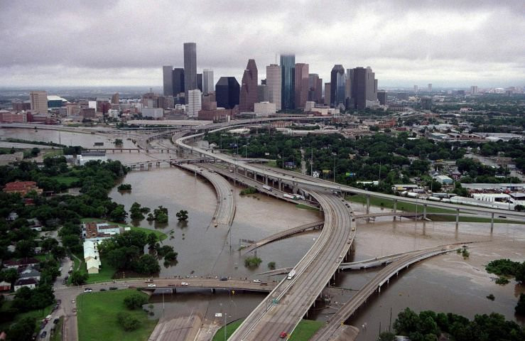 FLOODING…Flood waters block the Interstate 45 and Interstate 1