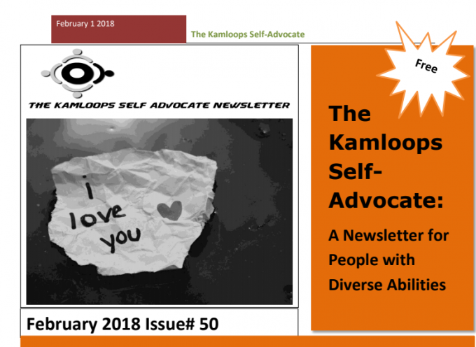 The Kamloops Self Advocates Newsletter Febuary 2018 Edition