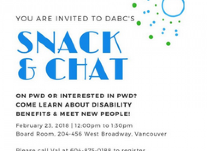 You are Invited to DABC's Snack & Chat!