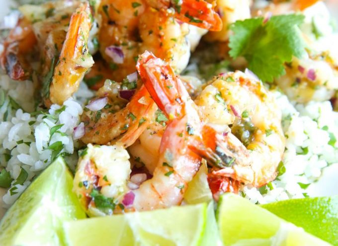 Salsa Verde Shrimp with Cilantro Rice