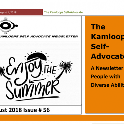 The Kamloops Self Advocates Newsletter August 2018 Edition