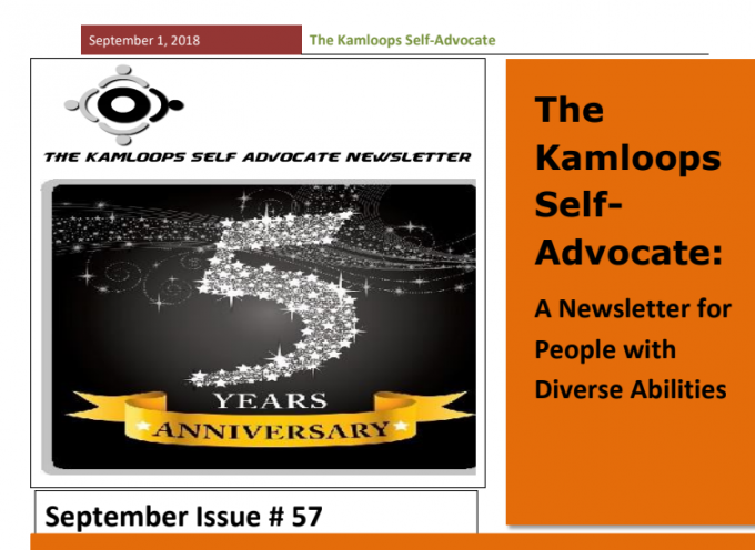 The Kamloops Self Advocates Newsletter September,2018 Edition