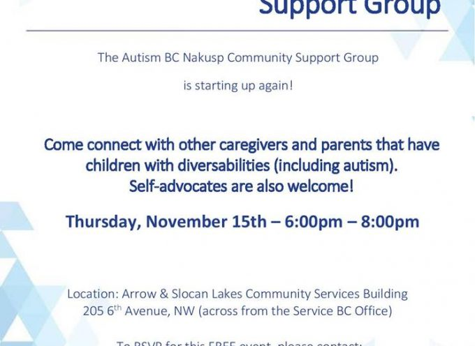 Nakusp Autism BC Community Group is starting up again next month We hope you can attend!