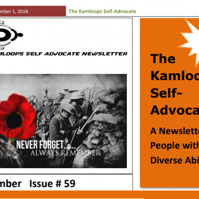 The Kamloops Self Advocates Newsletter November,2018 Edition