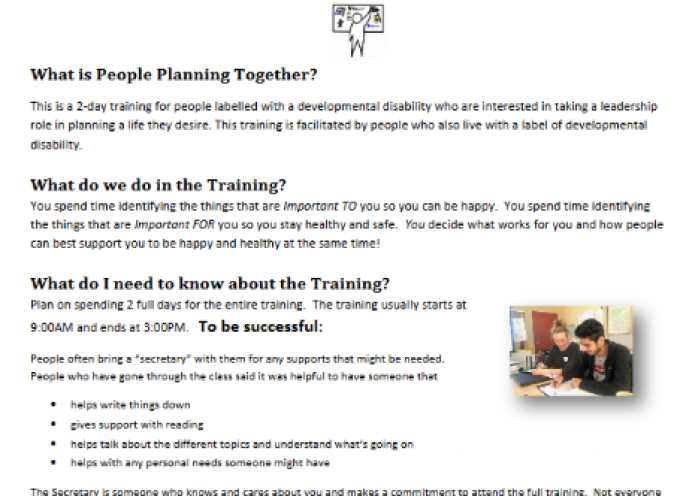Self Advocate opportunity! People Planning Together