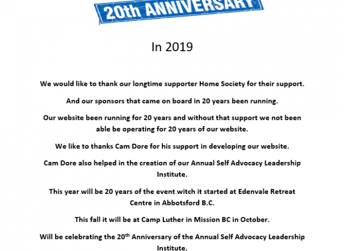 Selfadvocatenet.com is Celebrating its 20th Anniversary in ,2019 also its Annual Self Advocacy Leadership Institute