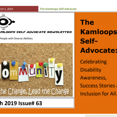 The Kamloops Self Advocates Newsletter March 2019 Edition