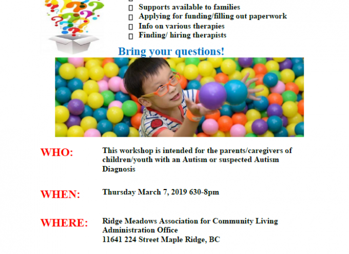 New Autism Diagnosis? Workshop