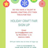 BACI Holiday Craft Fair ~ Calling all Crafters!