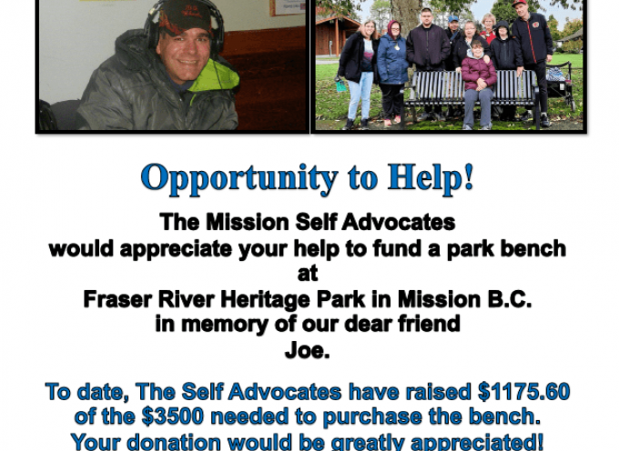 Joe Rikley Memorial Bench Fundraiser by Home Society