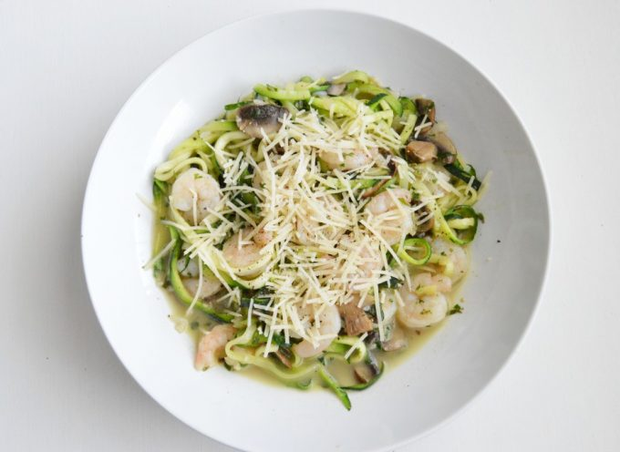 Skinny Shrimp and Mushroom Scampi with Zoodles