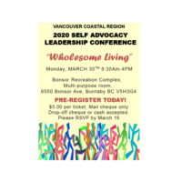 """Vancouver Coastal Self Advocacy Leadership Conference – """"Wholesome Living"""""""