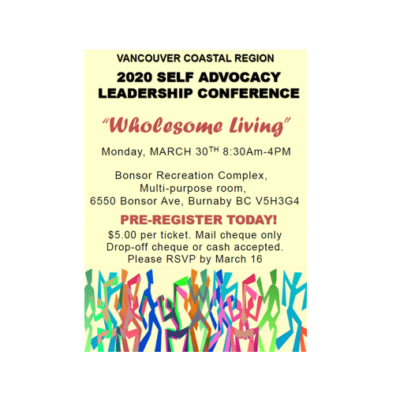 "Vancouver Coastal Self Advocacy Leadership Conference – ""Wholesome Living"""