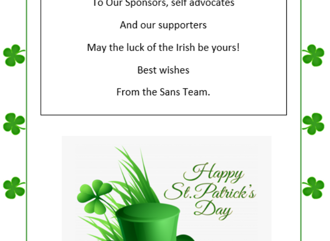 Selfadvocatenet.com St Patrick,s Day Message