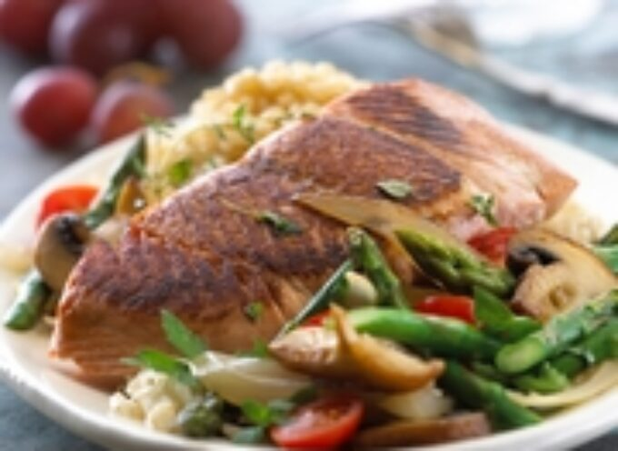 Salmon with Asparagus & Mushrooms